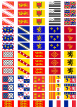 All 21 French Regions' Flag Stickers - 65 per sheet
